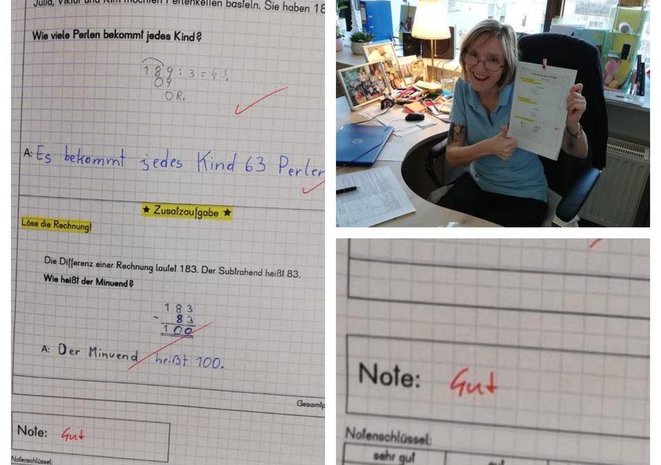 Von 4-5 auf eine 2 ausgebessert bei der Matheschularbeit!